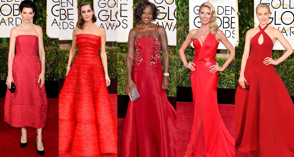 Raquel Greer Gordian exhibits looks that incorporated the scarlet trend at the Golden Globe Awards.