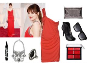 Raquel Greer Gordian displays the scarlet trend of this year's award season.