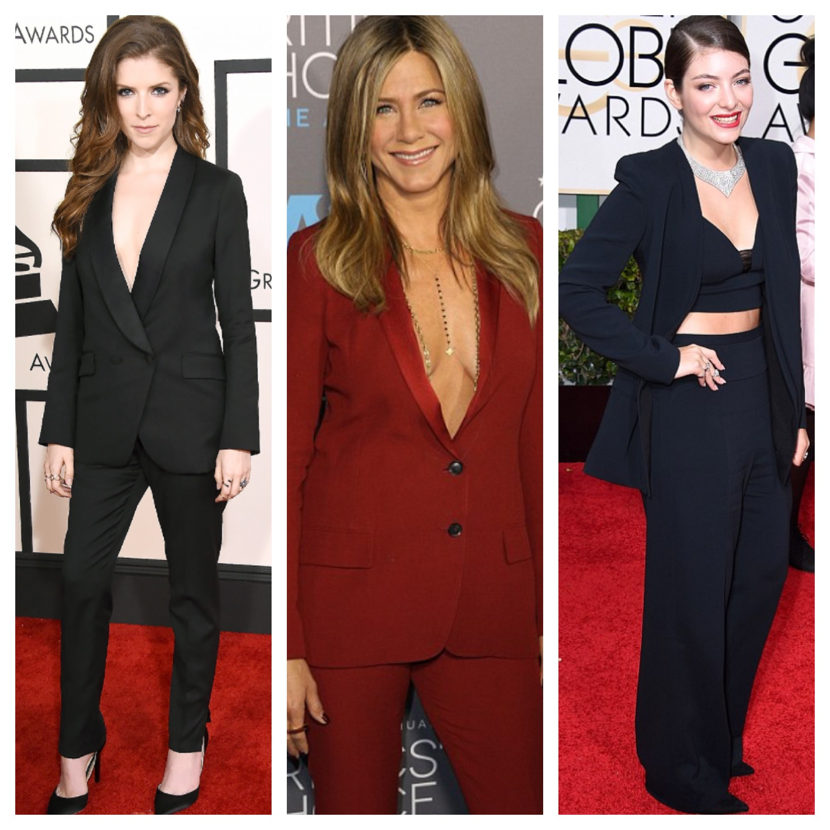 Raquel Greer Gordian displays red carpet looks that incorporated the menswear trend.