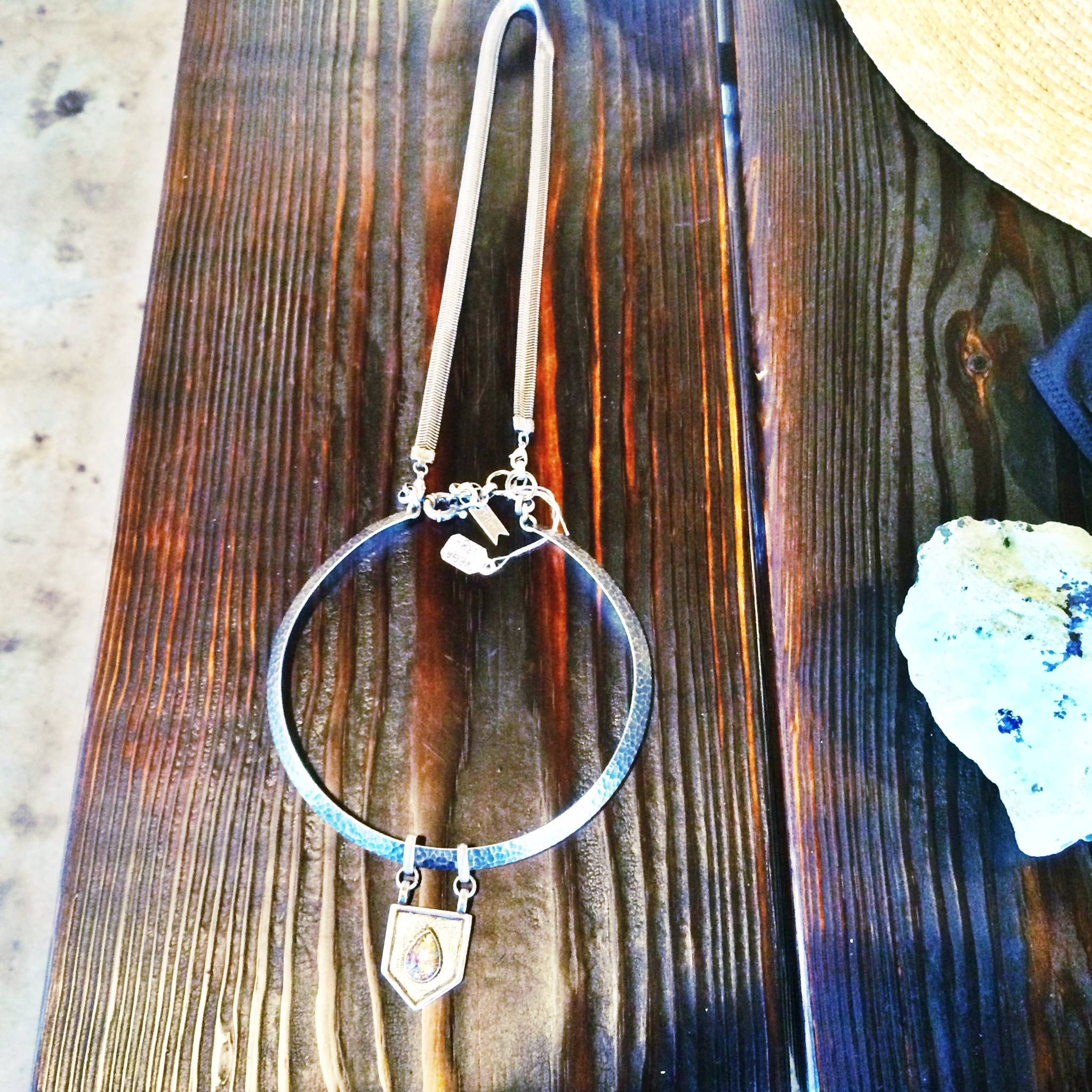Raquel Greer Gordian exhibits a necklace from Hoiden Supply Company that has an edgy style.