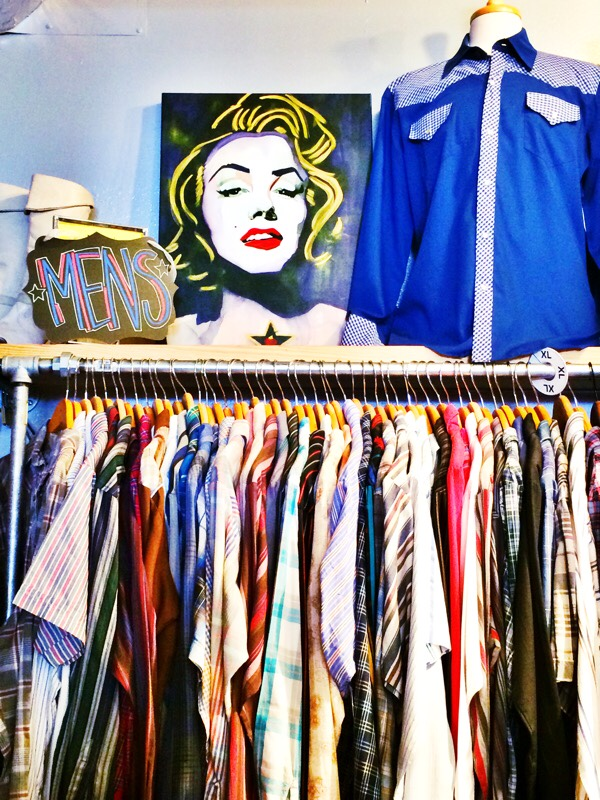Raquel Greer Gordian exhibits a rack of menswear from Leighelena.