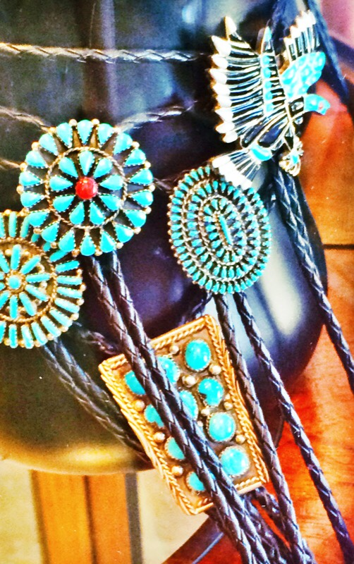 Raquel Greer Gordian exhibits turquoise boleros from Austin boutique Leighelena.