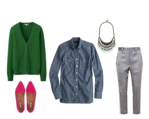 Raquel Greer Gordian displays an outfit that utilizes denim through a chambray button-up.