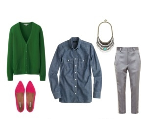 Raquel Greer Gordian exhibits a professional outfit that incorporates a chambray shirt.