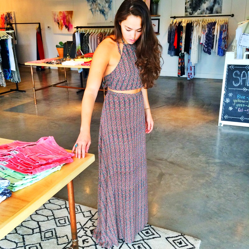 Raquel Greer Gordian models a printed, boho two piece maxi set from Southern Hippie.