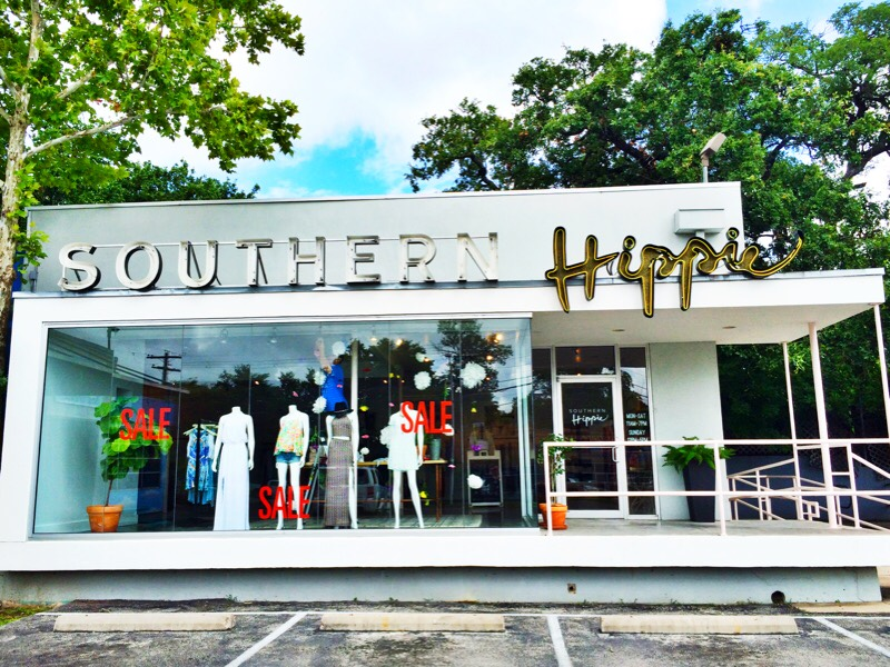 Raquel Greer Gordian shows an image of the exterior of the local Austin boutique Southern Hippie.