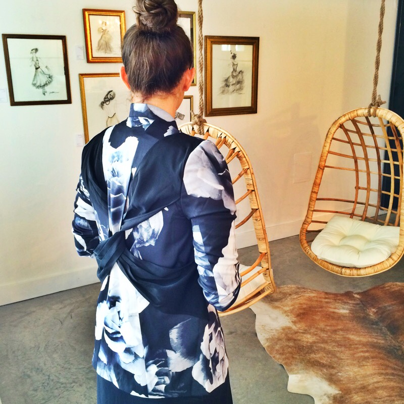 Raquel Greer Gordian models a black and white floral blazer by Cameo from Southern Hippie.