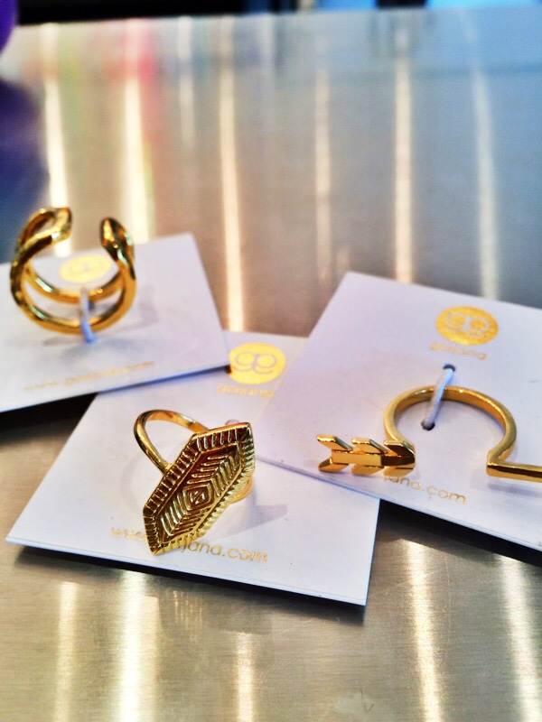 Raquel Greer Gordian displays a selection of gold rings by Gorjana from Southern Hippie.