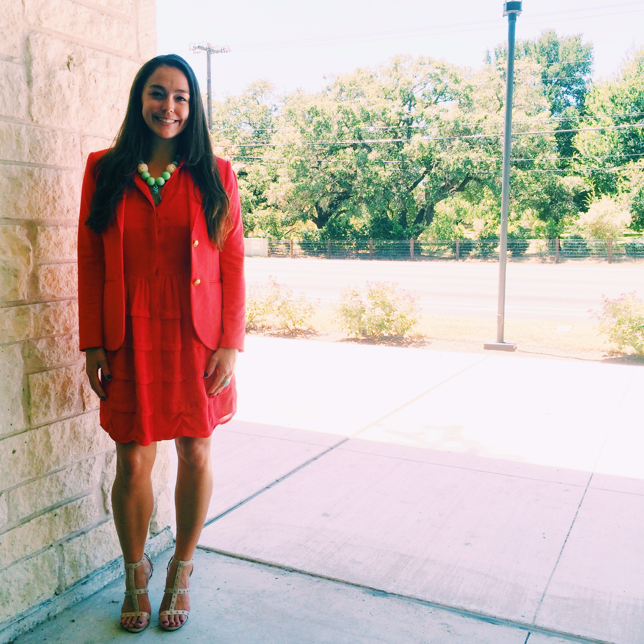 Raquel Greer Gordian models a business attire look that incorporates her favorite summer dress.
