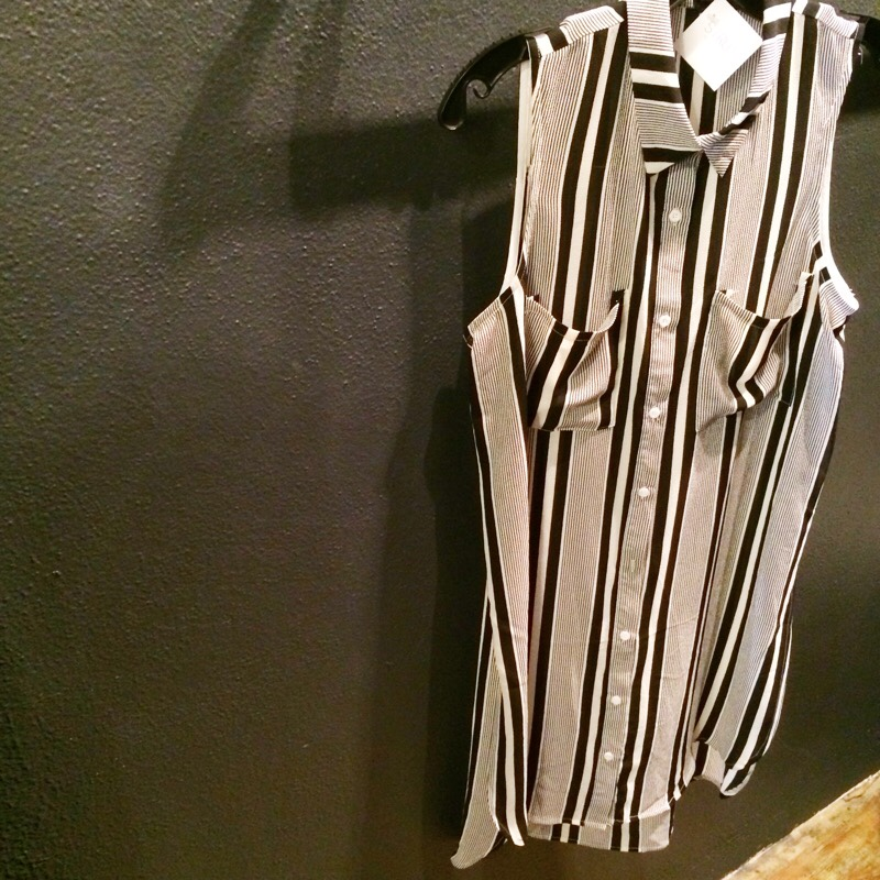 Raquel Greer Gordian exhibits a black and white shirtdress from the local Austin boutique Strut.