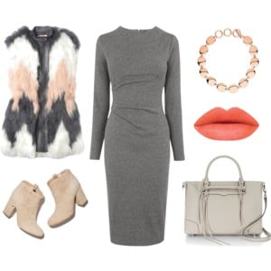 Raquel Greer Gordian styles the same dress with a fur vest, neutral booties, coral accents, and a gray handbag.