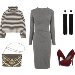 Raquel Greer Gordian styles the same gray dress with a striped turtleneck pullover, burgundy heels, black tassel earrings, and statement handbag.