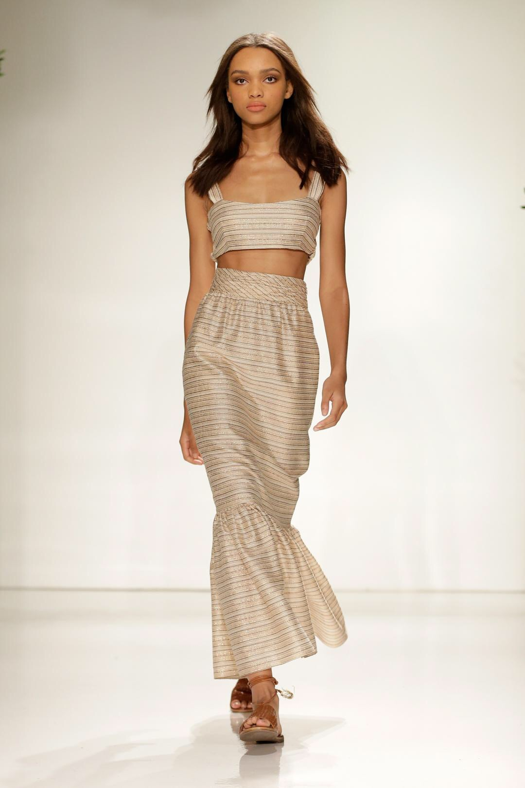 Emily Blanco exhibits a two-piece set from Rachel Zoe's NYFW show.