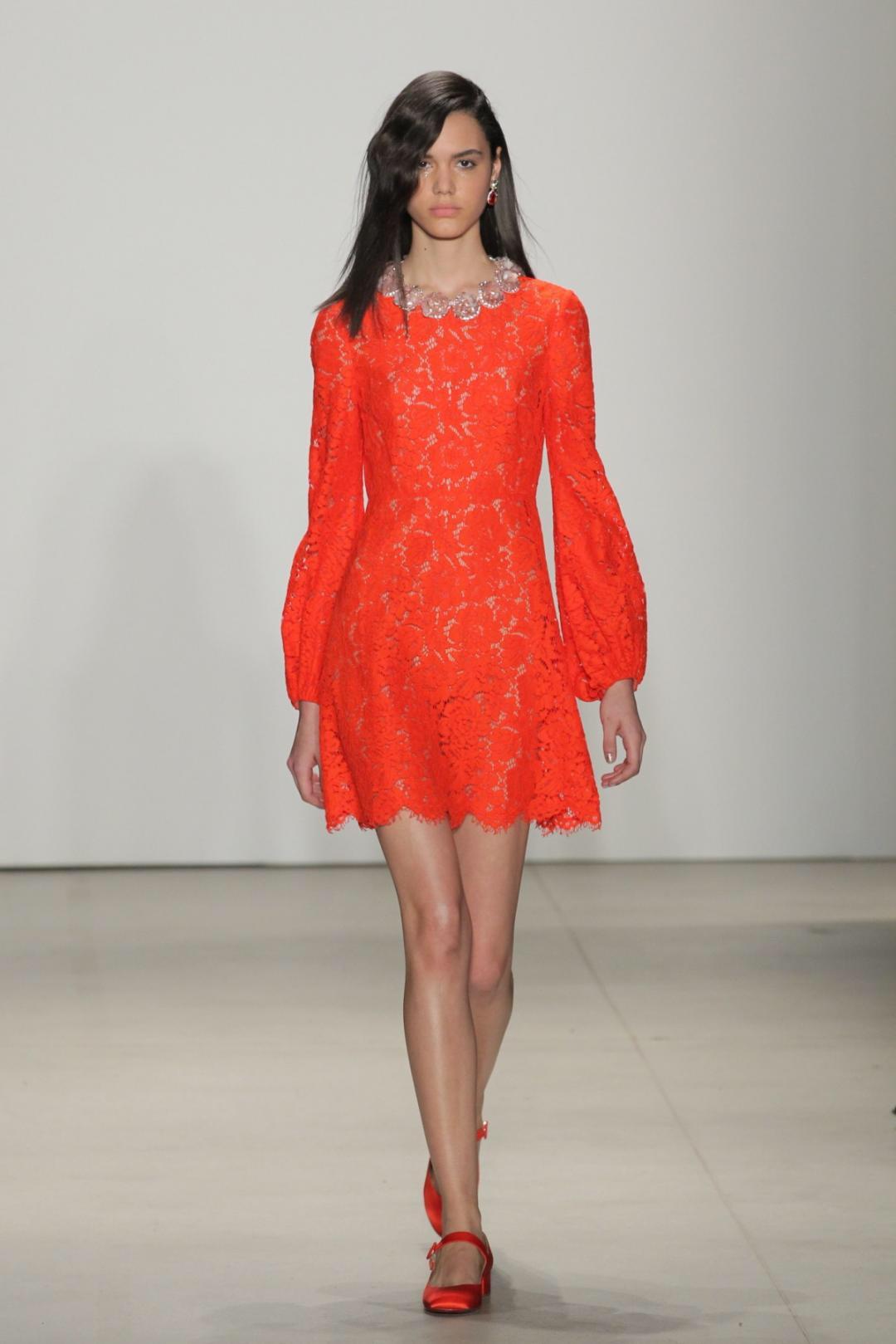 Emily Blanco exhibits a wearable Jenny Packham NYFW look.