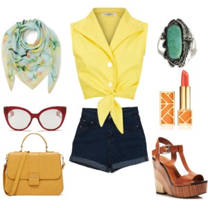 Emily Blanco assembles an outfit inspired by the colors of buttercups, consisting of a yellow crop top, denim shorts, leather wedges, and a teal scarf.