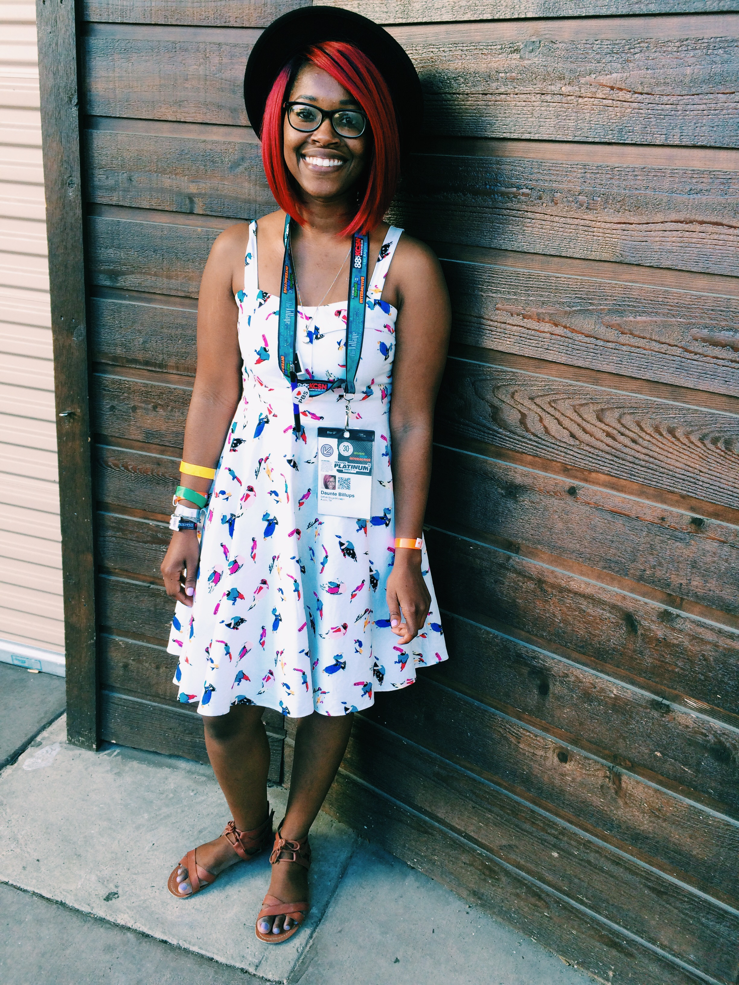 Raquel Greer Gordian displays Daunte Billups' fun, bird-printed fit-and-flare dress at SXSW.