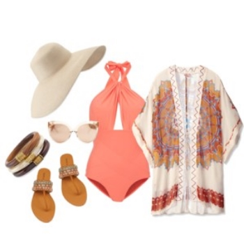 Emily Blanco exhibits an outfit styled by Raquel Greer Gordian that is perfect if you are headed to the beach.
