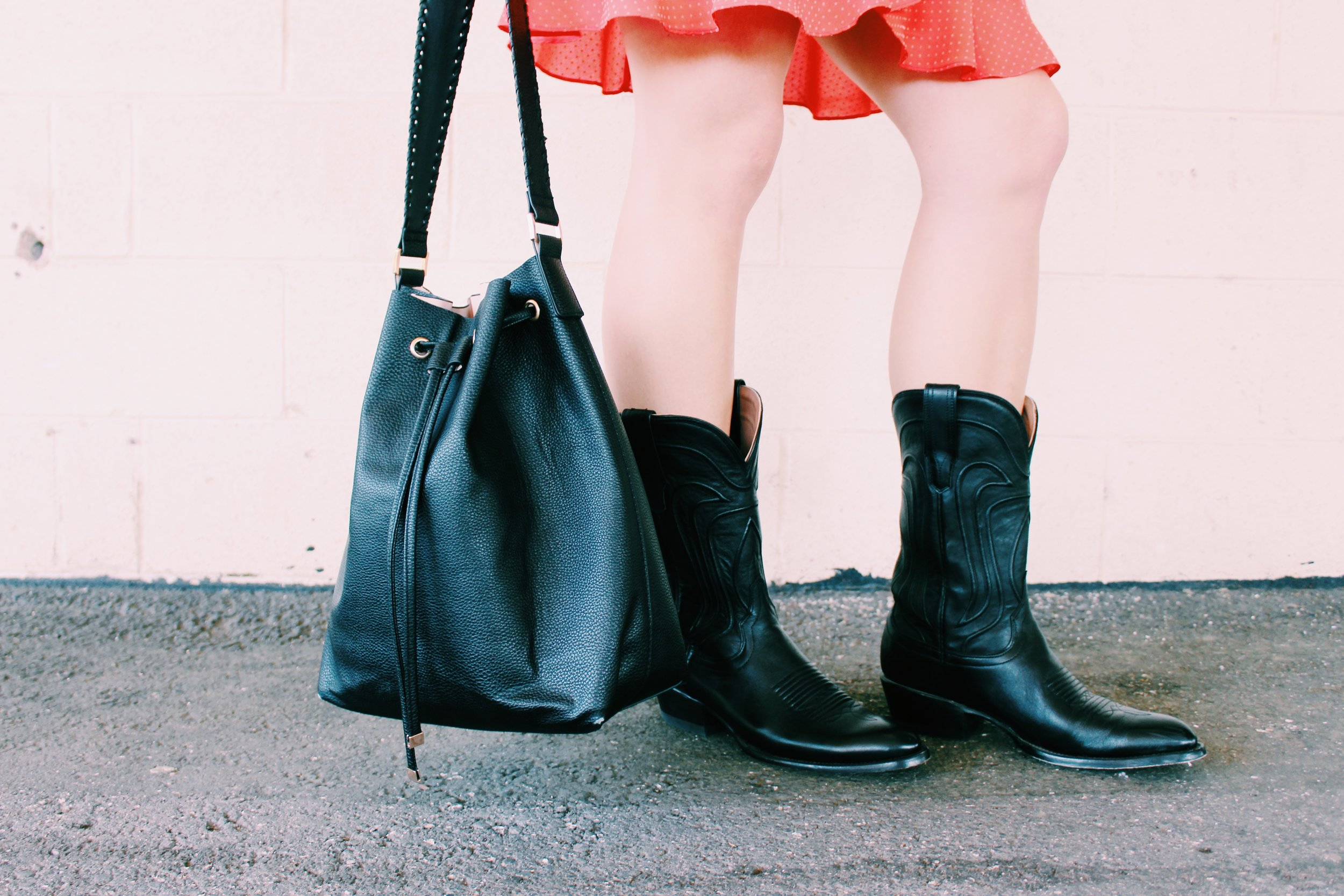 Greer Image Consulting - Blog - What to Wear to Brunch - Greer Guide to Style - Cowboy Boots - Black Bag