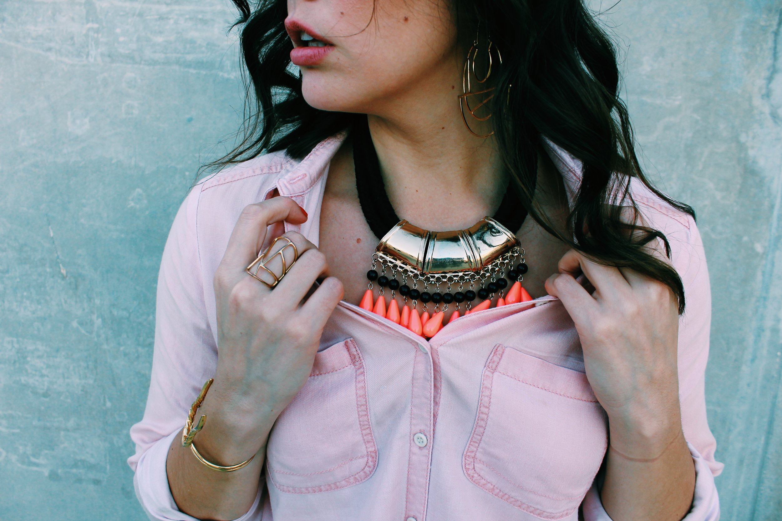 Greer Image Consulting - Blog - The Greer Guide to Style- Simple Styling Tricks - Corral Necklace - Statement Necklace - Gold - Gold Jewelry - Hoops