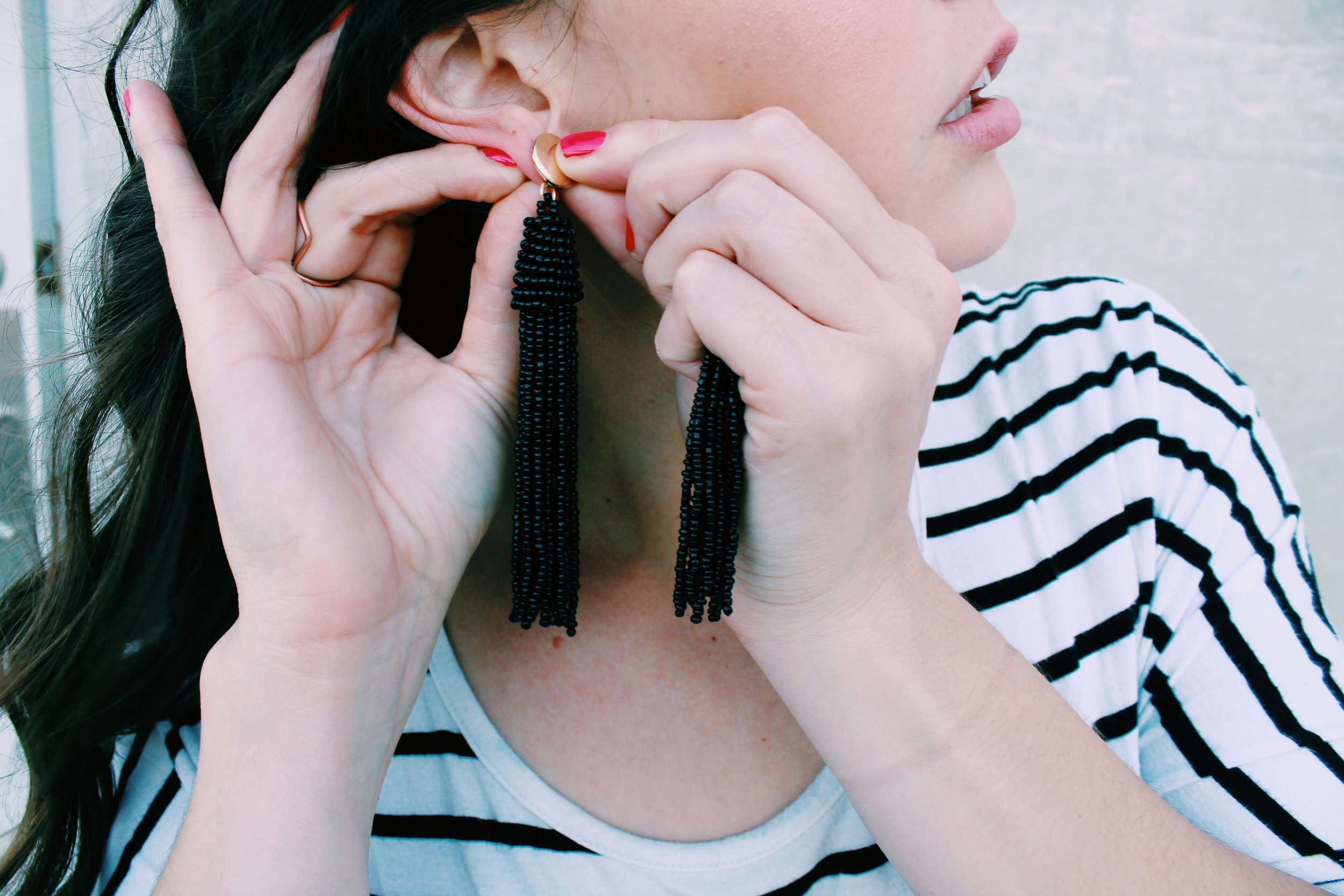 Greer Image Consulting - Blog - The Greer Guide to Style - Simple Styling Tricks - Tassel Earrings - Statement Earrings - Red - Red Nails