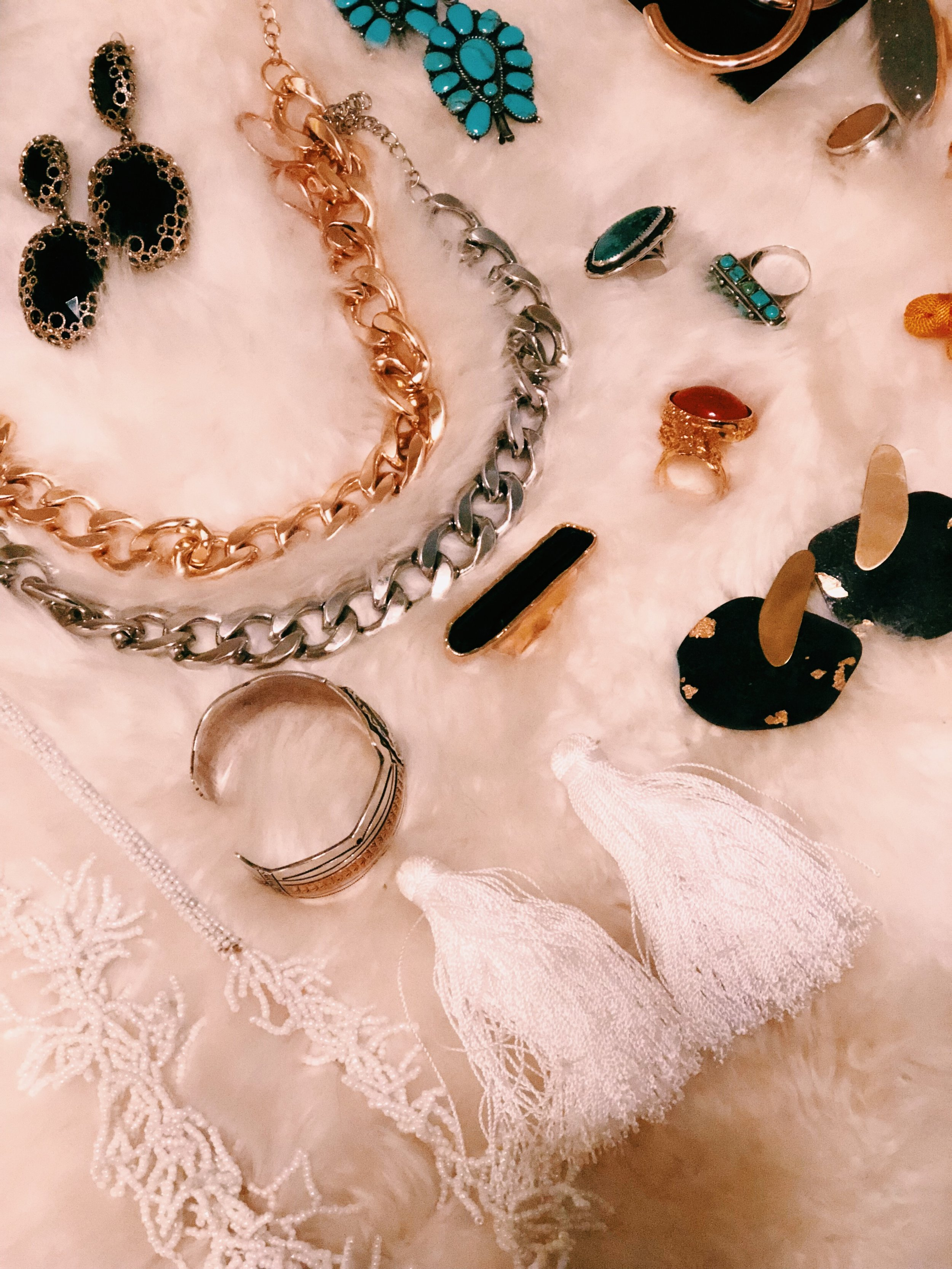 A snapshot of the jewelry I packed for the trip. I included my wedding jewelry (bottom right) in the bunch for when I wanted a romantic touch to my look