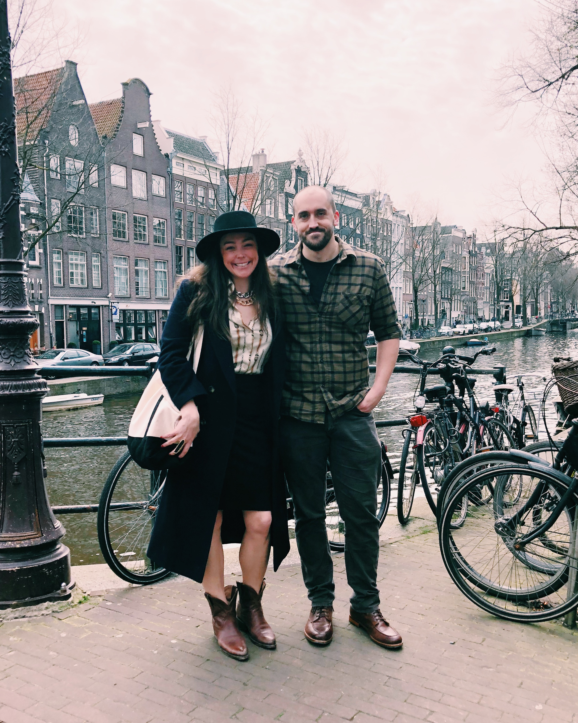 Amsterdam, Netherlands: Saying goodbye to Amsterdam and heading for Munich in my black pencil skirt and a top I picked up at a vintage shop in Amsterdam