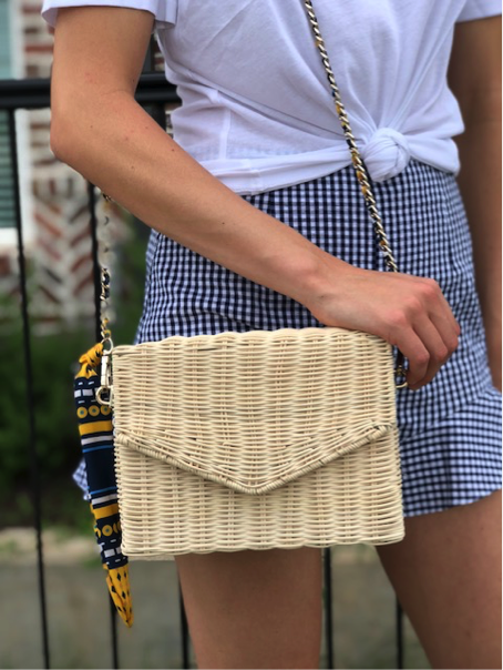 A close up shot of the bag that fits perfectly with so many looks this summer, the straw bag