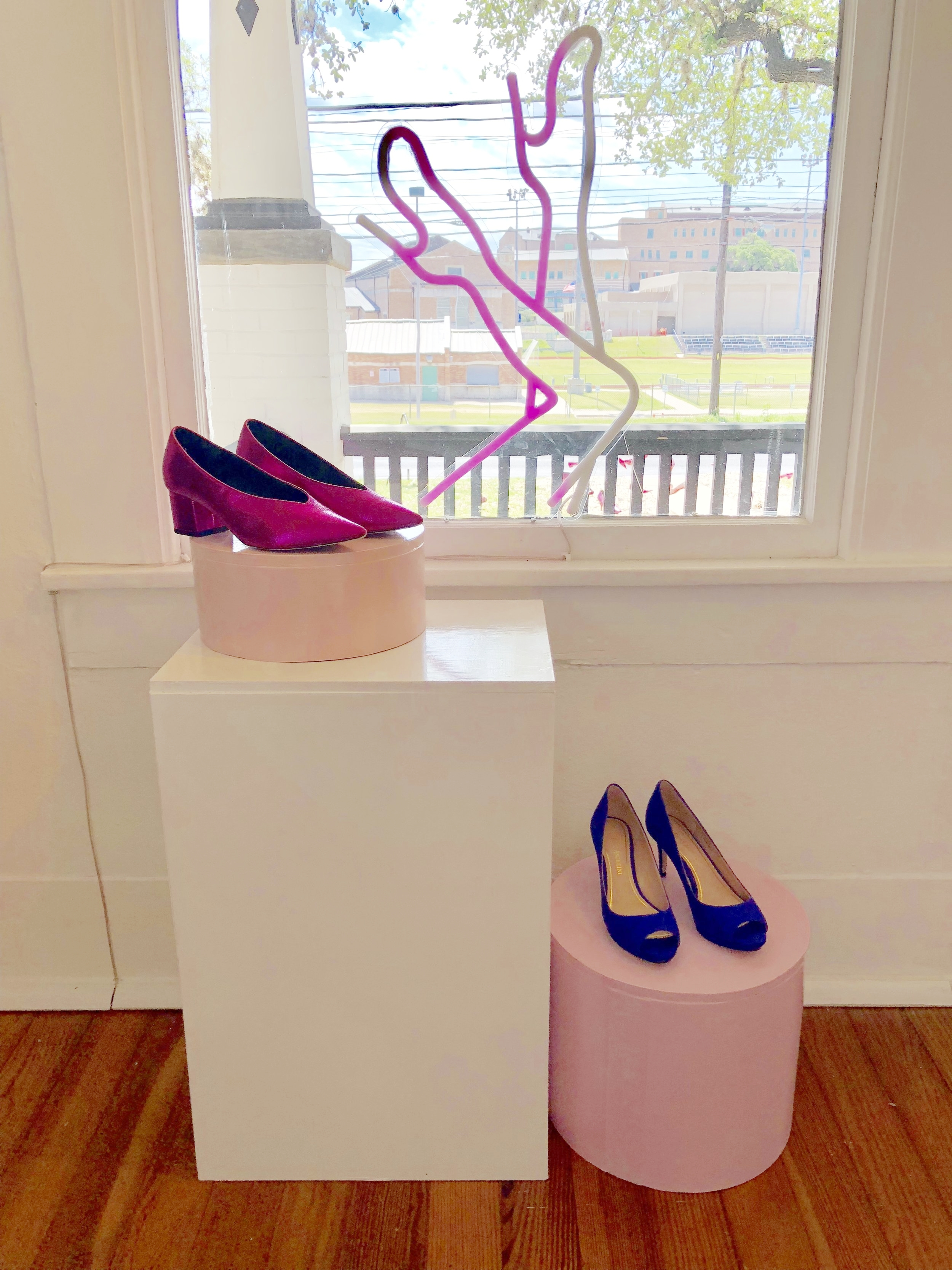 The window display at The Art of Shoes shows off a few eclectic options for summer 2018.