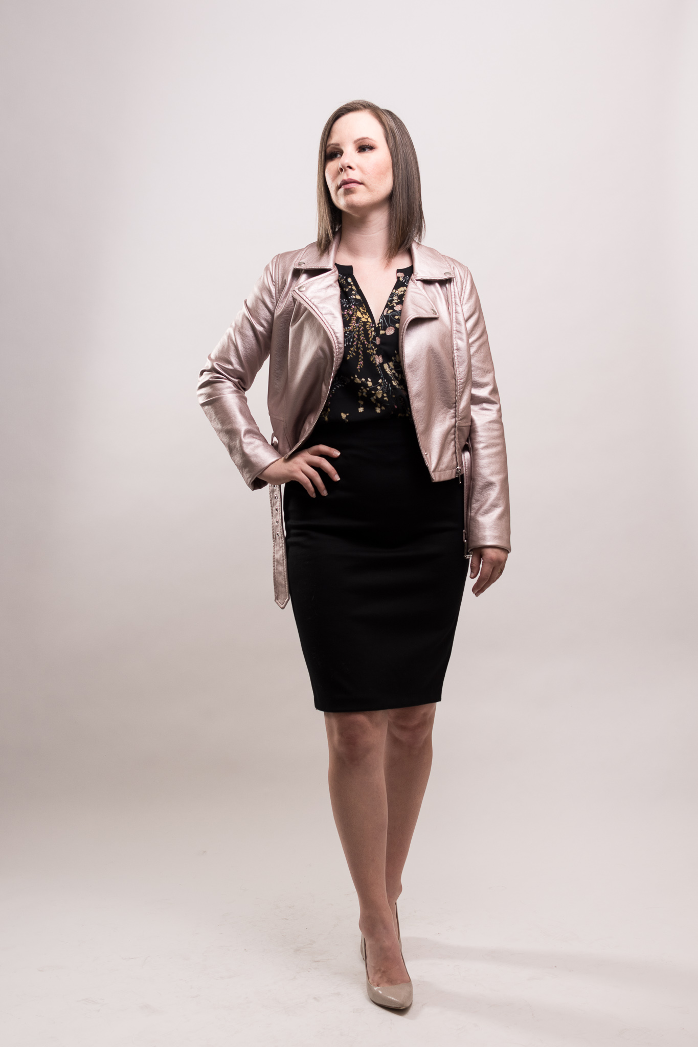 Jessica Pierre'auguste is styled by Raquel Greer Gordian for a business casual occasion in Austin, Texas.