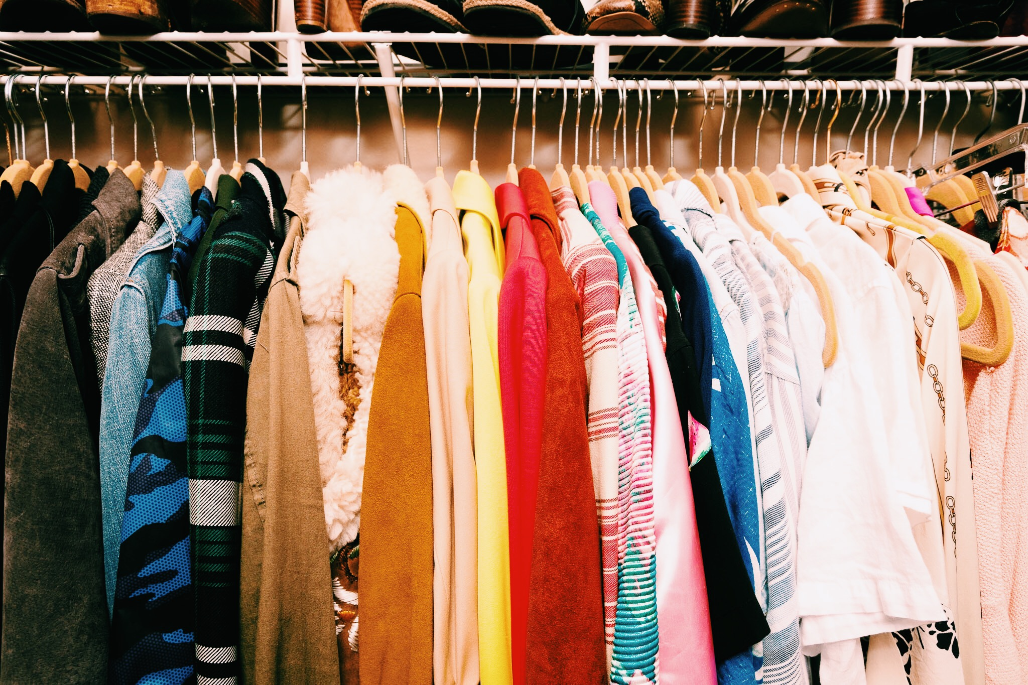 A closet filled with pieces that Raquel styles for a variety of different occasions in Austin, Texas