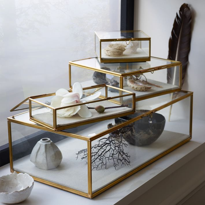 Glass shadow boxes are the perfect way to show off your collection of jewelry on a dresser top or bathroom counter top.