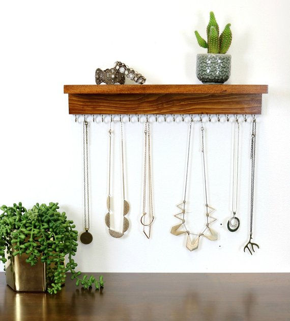 Mostly stick to necklaces? This is perfect for you. Use it as a solo piece for all your necklaces or incorporate this into your home and another tabletop jewelry organizer to display your bracelets, rings, and earrings in another spot.