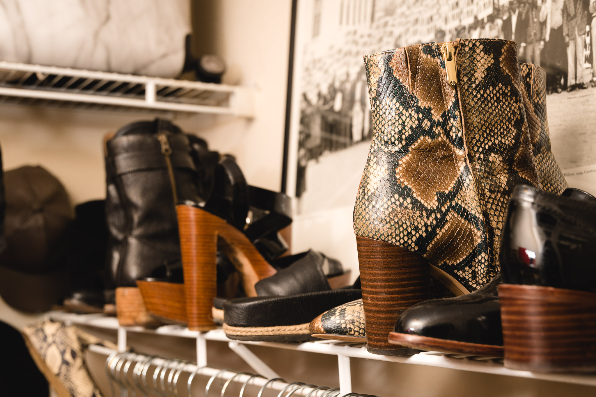 Place one shoe forward and one shoe backwards to create more space amongst shoes and easily create outfits incorporating the design details of the shoes.