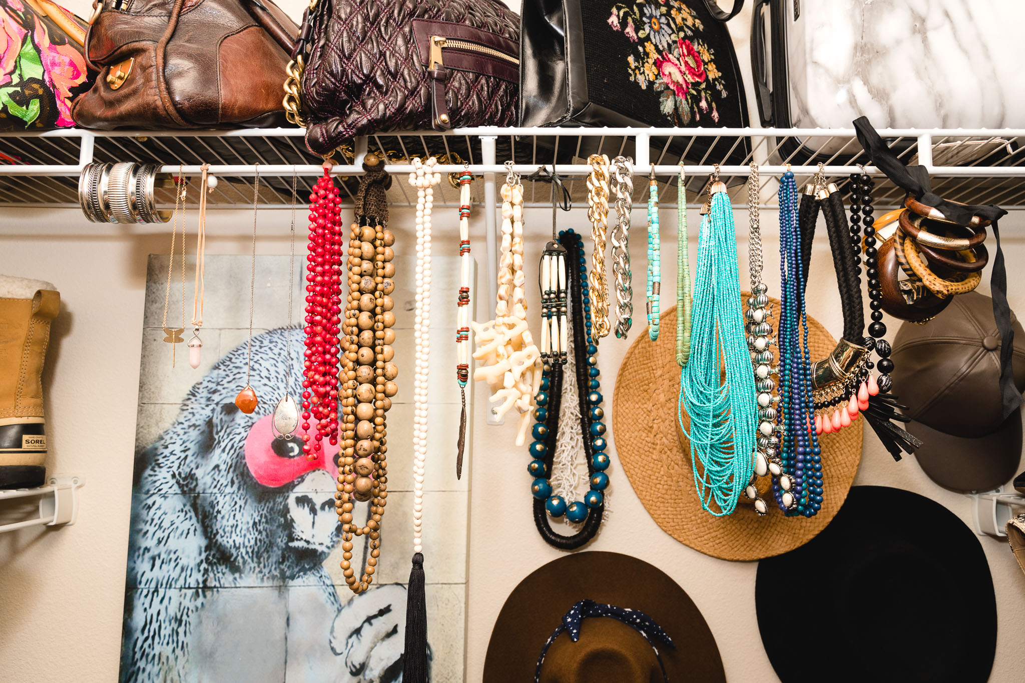 My necklaces hang right above my folded sweaters, so I can easily see and use each piece.