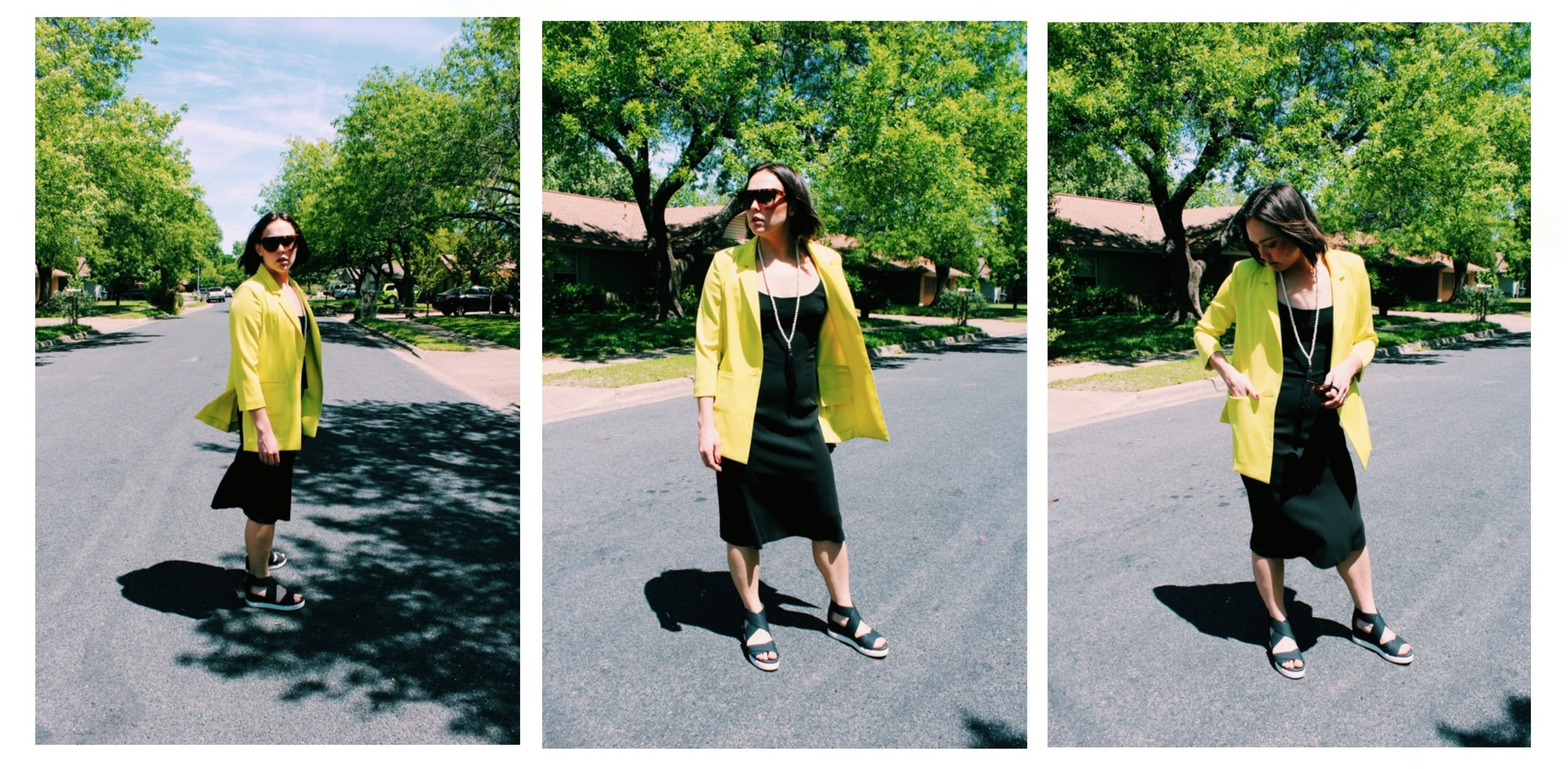 Raquel Greer Gordian shows you easy ways to pair your boyfriend blazer with a simple summer dress.