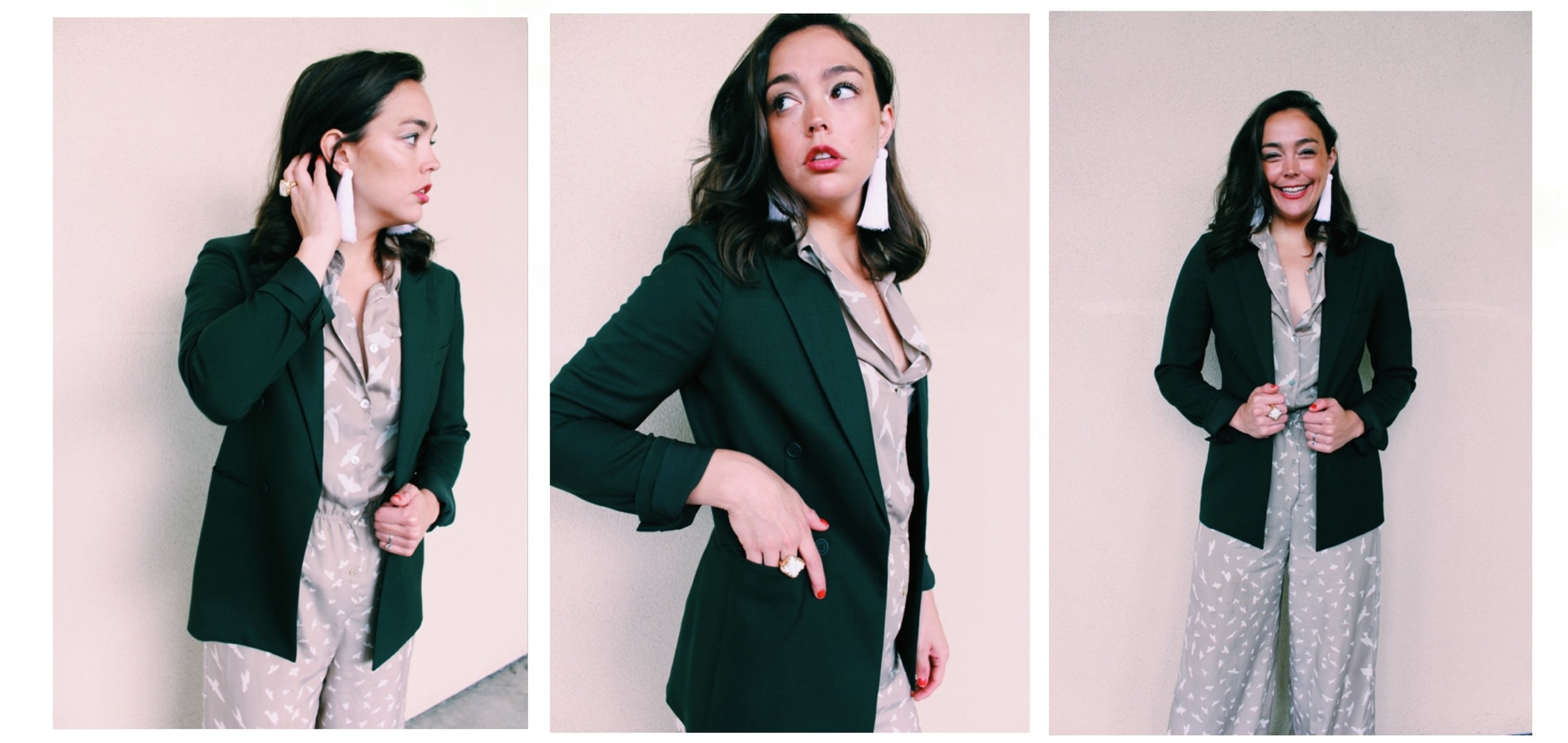 Raquel Greer Gordian shares easy ways to pair your classic blazer with a fun jumpsuit.