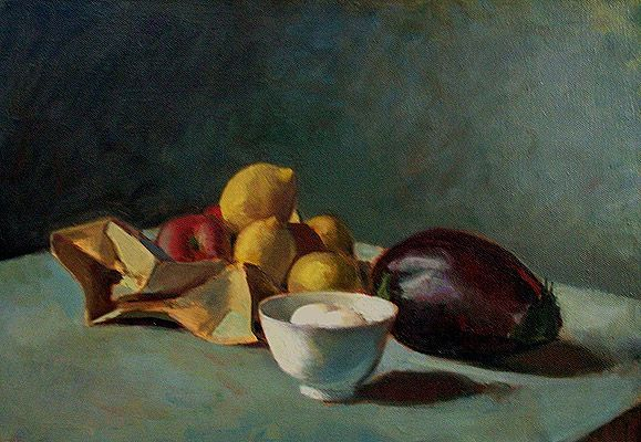 Still Life with Eggplant, painting