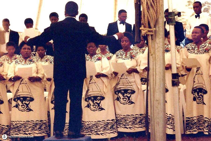 Choir singing at the dedication of the sculpture of Dr. Martin Luther King at the American Embassy in Pretoria.