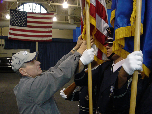 He took shots to see how bearing the weight of flags, battle streamers and ceremonial weapons...
