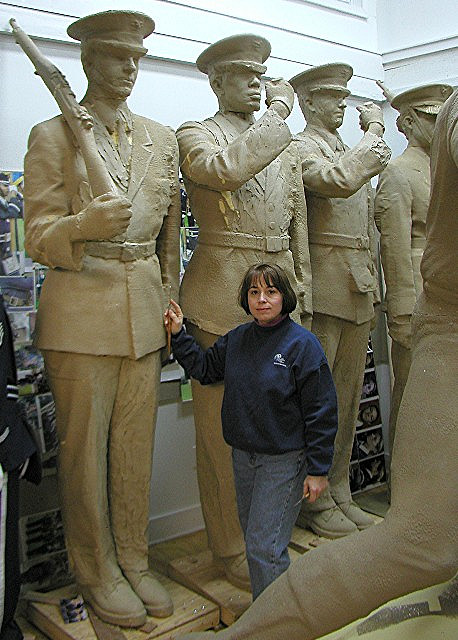 These lists were confirmed in writing between the studio and the Air Force Memorial Foundation, and the changes were made. These included slight changes in the position of the feet, the relationship of the figures to each other...