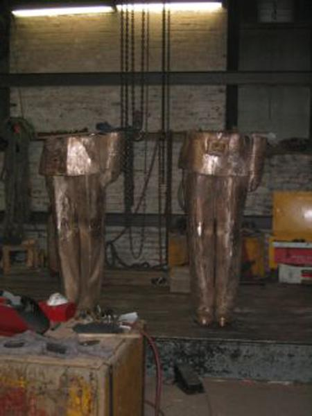 All the individual parts of the sculpture cast into bronze...