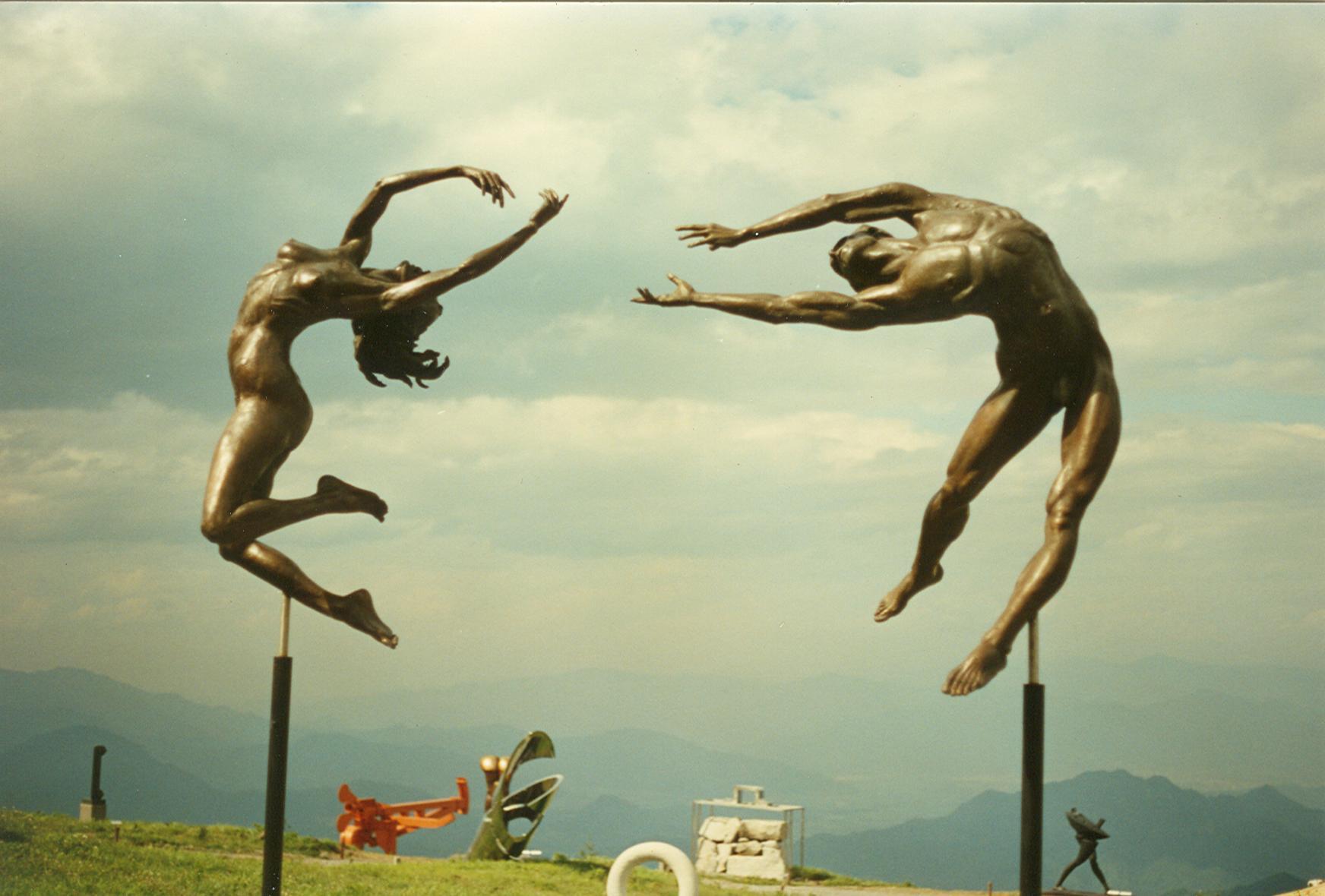 Reaching sculpture at Utsukushi-ga-hara Open Air Museum, Japan. Artist Zenos Frudakis.