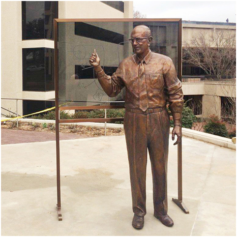 Seven foot-tall bronze figure   of Donald Wayne Seldin, M.D., created by sculptor Zenos Frudakis and unveiled in a ceremony on the campus of UT Southwestern Medical Center on March 16, 2015.