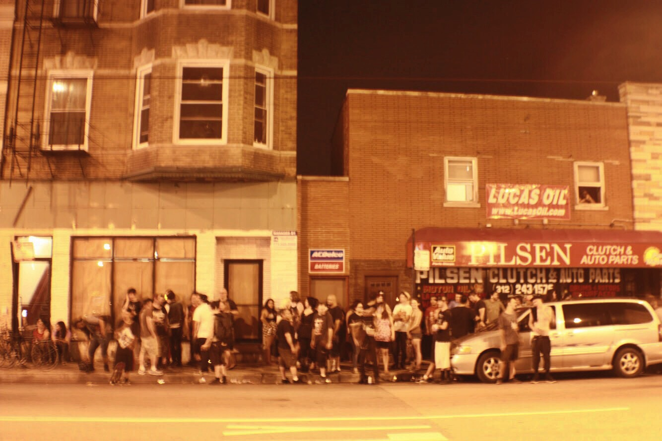 The crowd outside Mt. happy. This is earlier in the night, and I kept growing as it progressed.