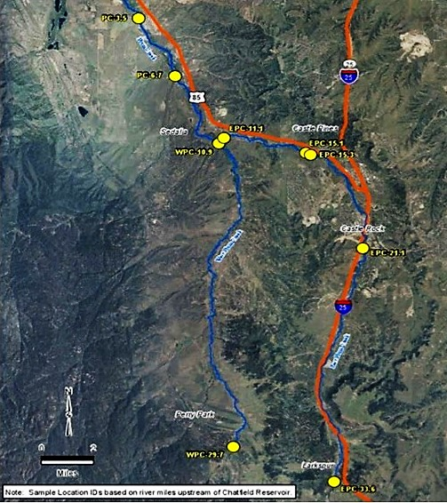Location of Nine Plum Creek sampling sites upstream of Chatfield Reservoir