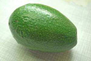 Unripe avocado - we try to buy them unripe, then let them ripen on the kitchen counter for a few days.