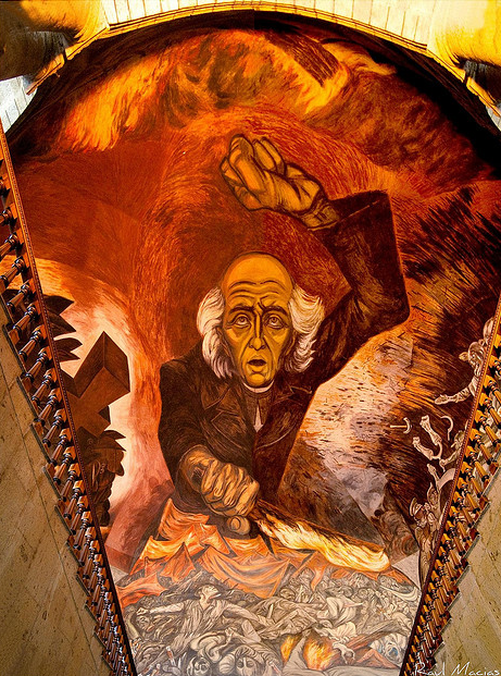Carnaval de Ideologias  (1937-39), a mural by Mexican artist Jose Clemente Orozco in the Guadalajara Government Palace.  Notice Hidalgo is wearing a priest's collar and holding the torch of independence.  Like all wars, Mexico's war for independence was bloody and violent, as we can see in this artist's depiction.
