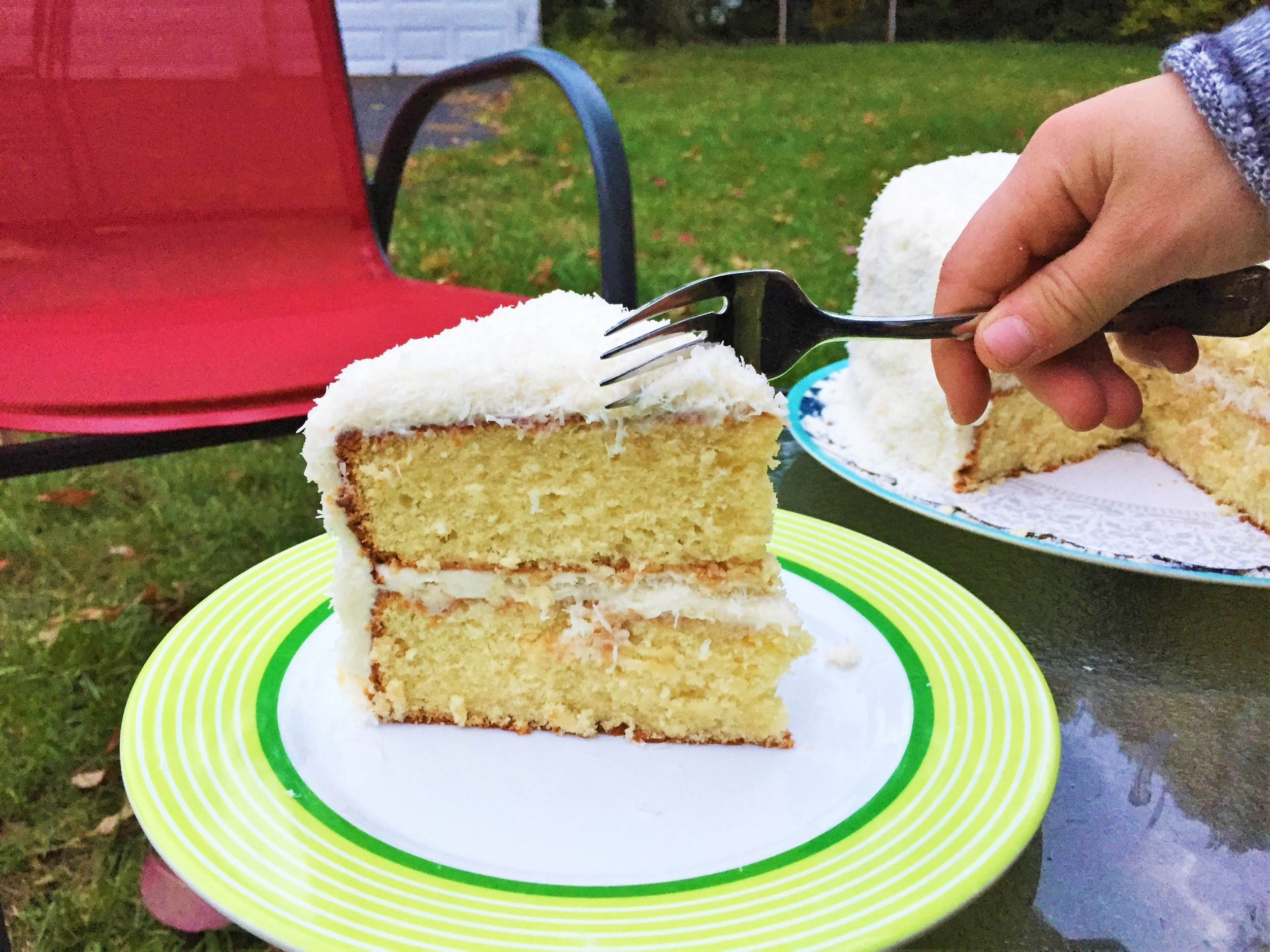 Coconut Cream Cake , made in the Adventure Kitchen in October 2015