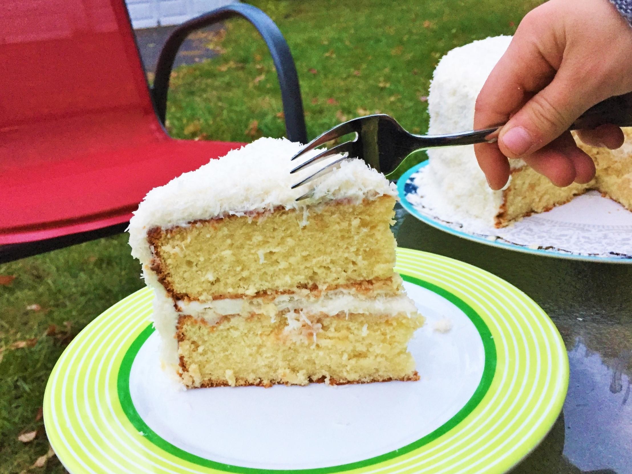Coconut Cream Cake - first fork.jpg