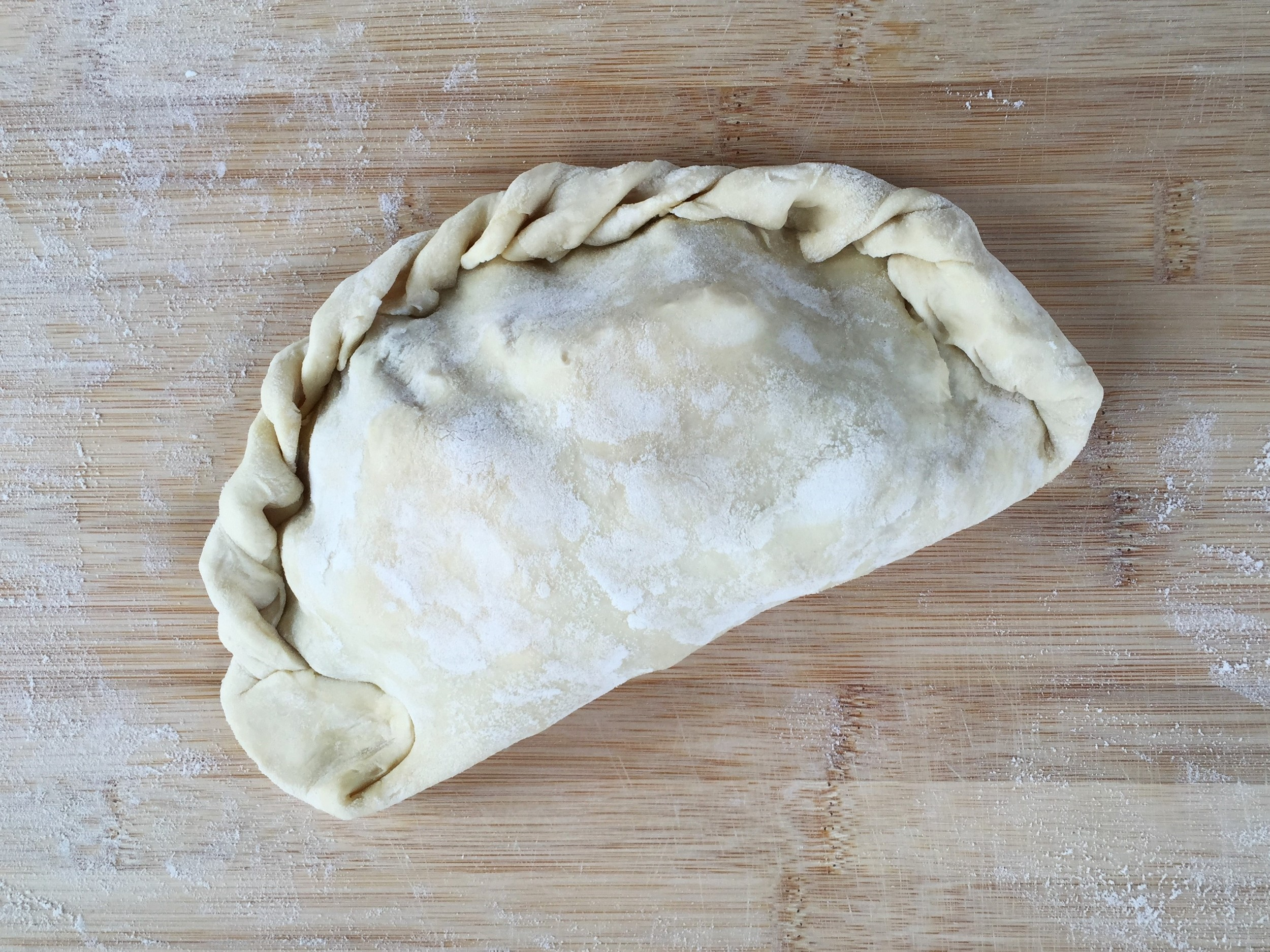Finished Cornish Pasty should resemble a letter D.